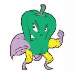 personaje de dibujos animados de la pimienta verde escultura fotográfica