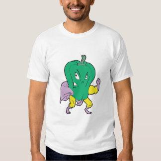 personaje de dibujos animados de la pimienta verde playera