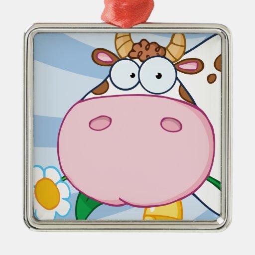 Personaje de dibujos animados de la vaca adorno navideño cuadrado de metal