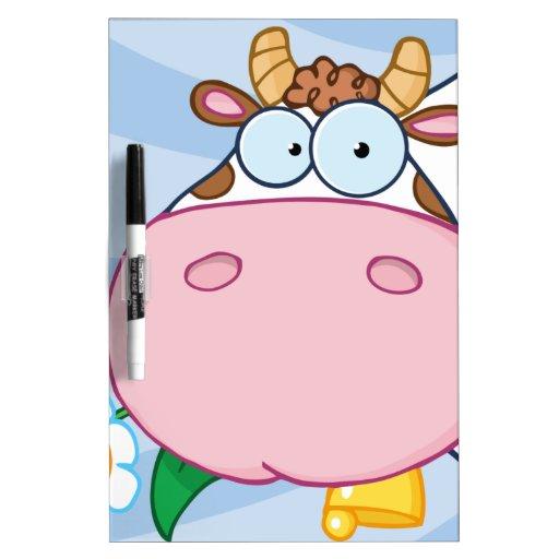 Personaje de dibujos animados de la vaca pizarra blanca
