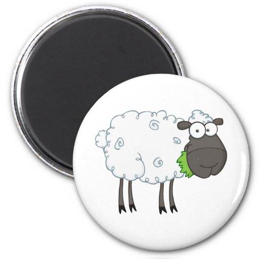 Personaje de dibujos animados de las ovejas negras imán redondo 5 cm
