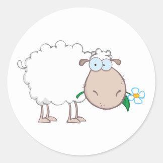 Personaje de dibujos animados de las ovejas pegatina redonda