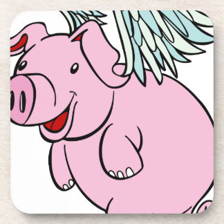 Personaje de dibujos animados del cerdo del vuelo posavasos de bebida