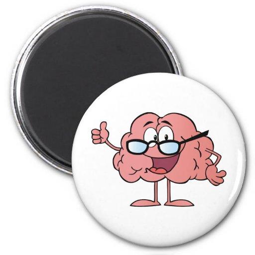 Personaje de dibujos animados del cerebro que da l imán redondo 5 cm