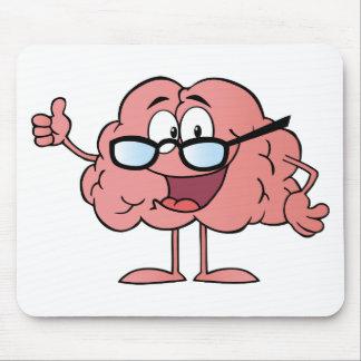 Personaje de dibujos animados del cerebro que da l tapete de ratón