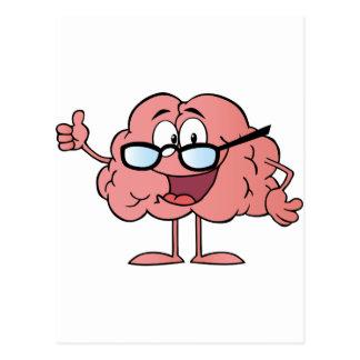Personaje de dibujos animados del cerebro que da tarjetas postales