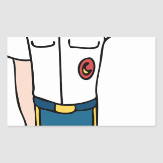 Personaje de dibujos animados del hombre del pegatina rectangular