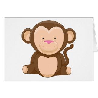 Personaje de dibujos animados del mono tarjeta de felicitación