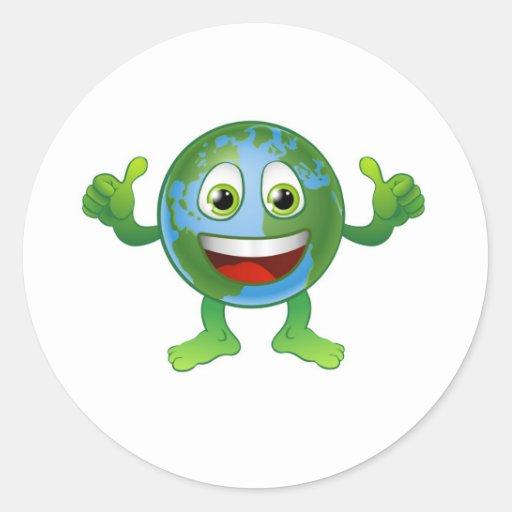 Personaje de dibujos animados del mundo del globo pegatina redonda