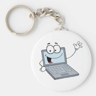 Personaje de dibujos animados del ordenador portát llavero redondo tipo pin