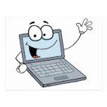 Personaje de dibujos animados del ordenador portát tarjeta postal