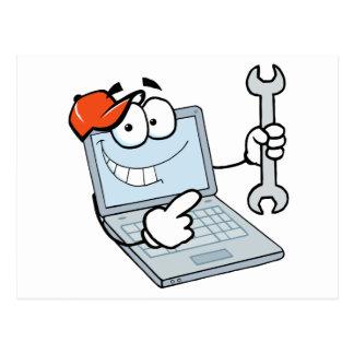 Personaje de dibujos animados del ordenador tarjeta postal