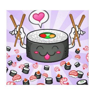 Personaje de dibujos animados del sushi que come p impresión en lienzo