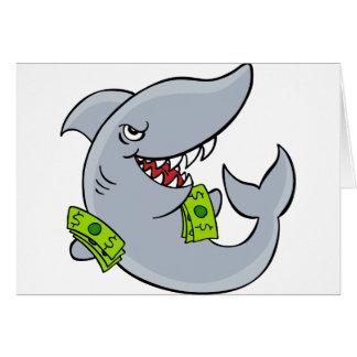 Personaje de dibujos animados del tiburón de tarjeta de felicitación