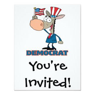 """personaje de dibujos animados democrático lindo invitación 4.25"""" x 5.5"""""""