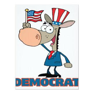 """personaje de dibujos animados democrático lindo invitación 6.5"""" x 8.75"""""""