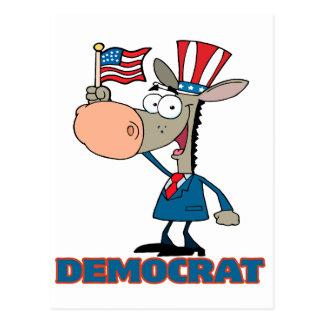 personaje de dibujos animados democrático lindo tarjetas postales