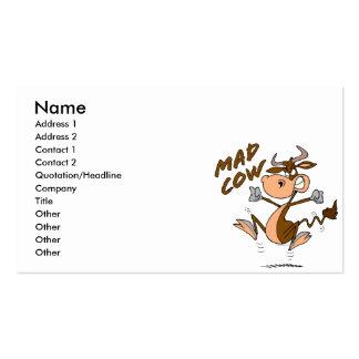 personaje de dibujos animados divertido de la vaca tarjetas de visita