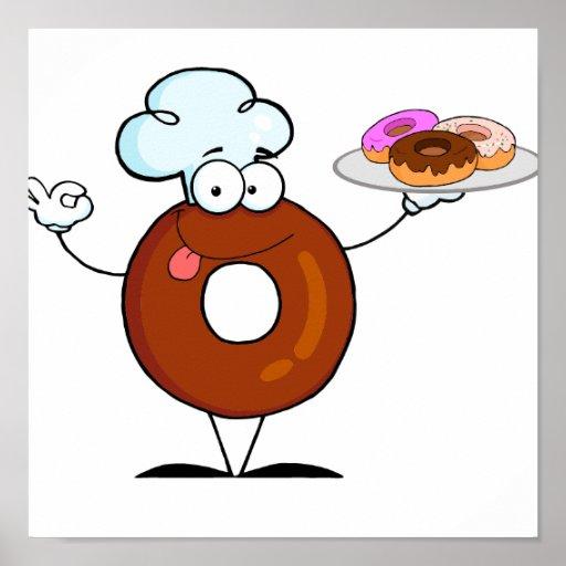 personaje de dibujos animados divertido del cocine póster
