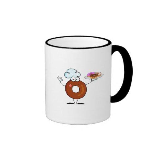 personaje de dibujos animados divertido del cocine taza de café