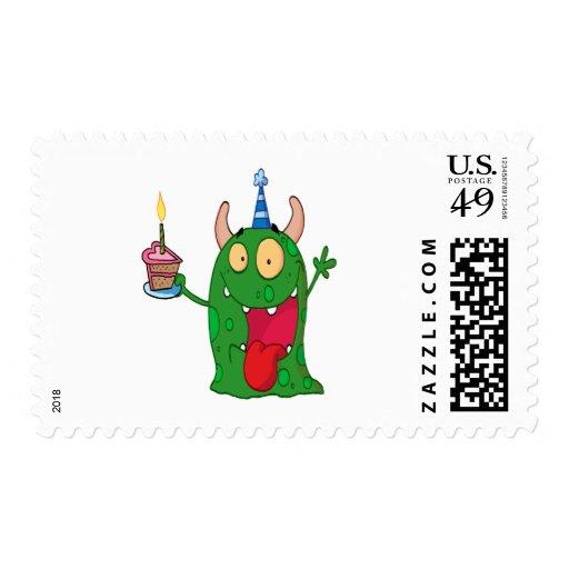 personaje de dibujos animados divertido del monstr sello