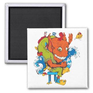 personaje de dibujos animados divertido del vector imán de frigorífico
