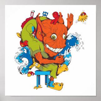 personaje de dibujos animados divertido del vector posters