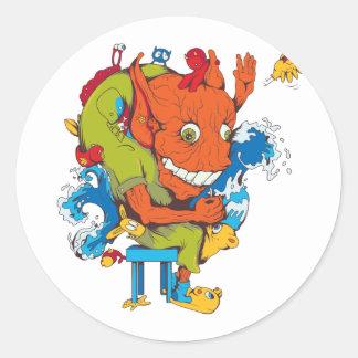personaje de dibujos animados divertido del vector pegatinas redondas