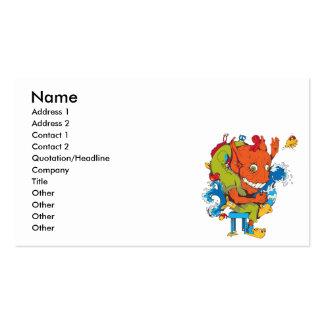 personaje de dibujos animados divertido del vector plantillas de tarjetas de visita