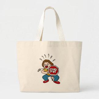 Personaje de dibujos animados enojado del guardia bolsa de tela grande