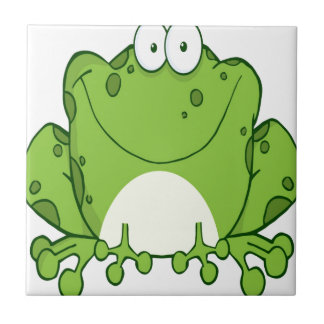 Personaje de dibujos animados feliz de la rana azulejo cuadrado pequeño