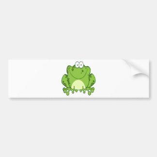 Personaje de dibujos animados feliz de la rana etiqueta de parachoque
