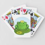 Personaje de dibujos animados feliz de la rana baraja de cartas