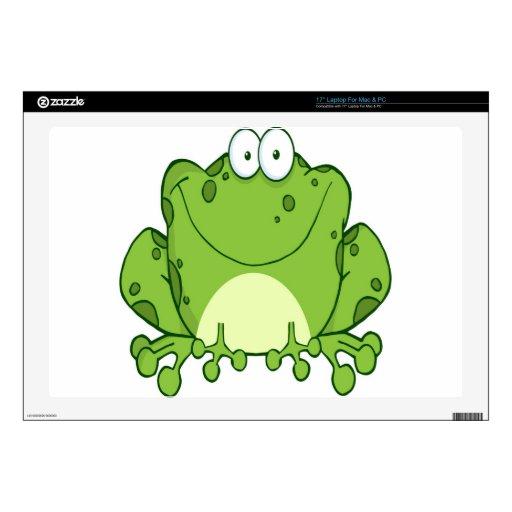 Personaje de dibujos animados feliz de la rana calcomanía para portátil