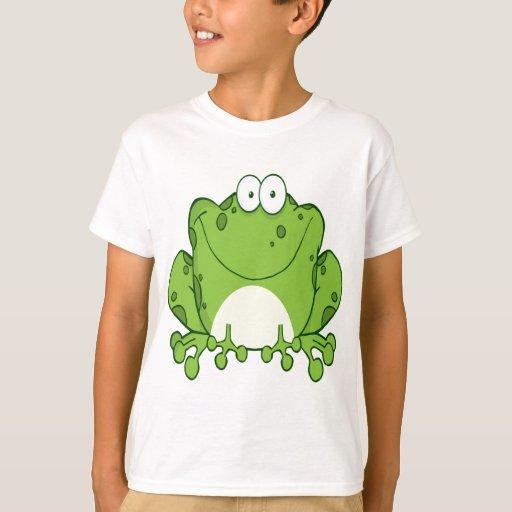 Personaje de dibujos animados feliz de la rana playera