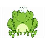 Personaje de dibujos animados feliz de la rana postales