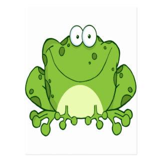 Personaje de dibujos animados feliz de la rana tarjeta postal