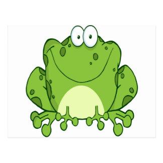 Personaje de dibujos animados feliz de la rana tarjetas postales