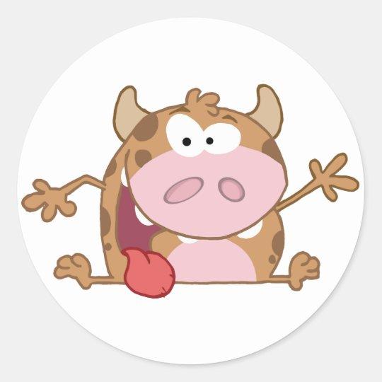 Personaje de dibujos animados feliz del becerro pegatina redonda