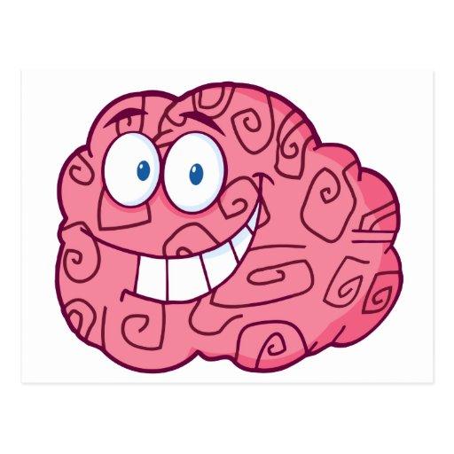 Personaje de dibujos animados feliz del cerebro postal
