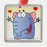 Personaje de dibujos animados feliz del elefante adorno