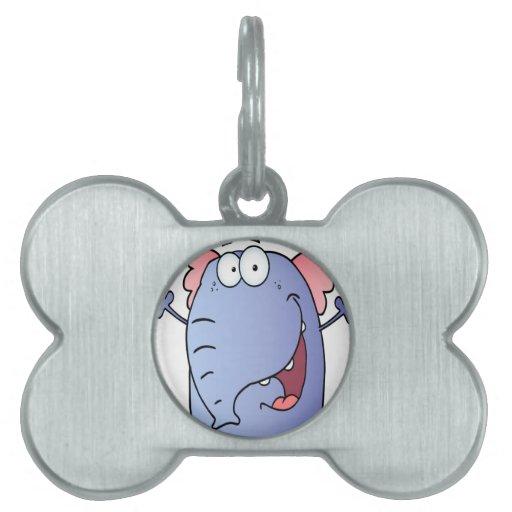 Personaje de dibujos animados feliz del elefante placas de nombre de mascota