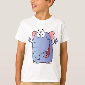 Personaje de dibujos animados feliz del elefante playera
