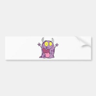 Personaje de dibujos animados feliz del monstruo pegatina de parachoque