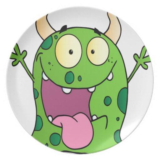 Personaje de dibujos animados feliz del monstruo platos para fiestas
