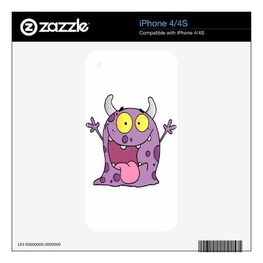 Personaje de dibujos animados feliz del monstruo skin para el iPhone 4S