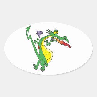 personaje de dibujos animados firebreathing tonto pegatina ovalada