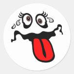 Personaje de dibujos animados graciosamente etiqueta redonda