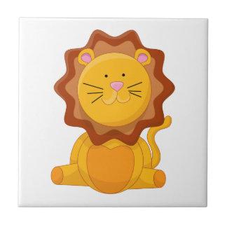 Personaje de dibujos animados joven del león azulejo cuadrado pequeño
