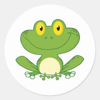 Personaje de dibujos animados lindo de la rana pegatina redonda
